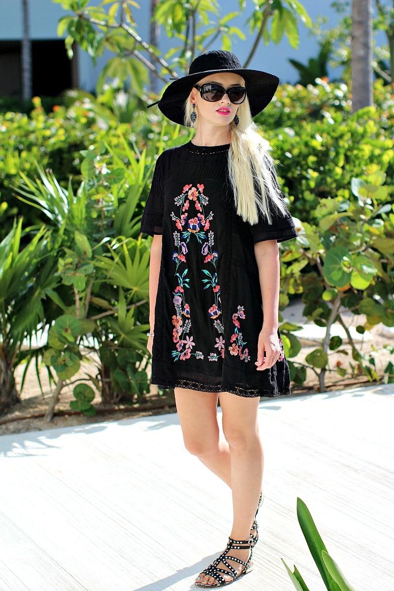 black embroidered dress 8002