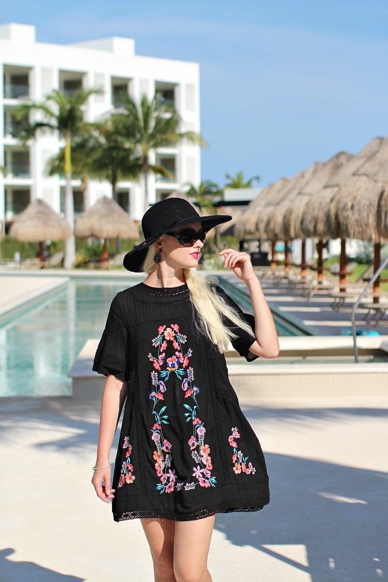black embroidered dress 8004