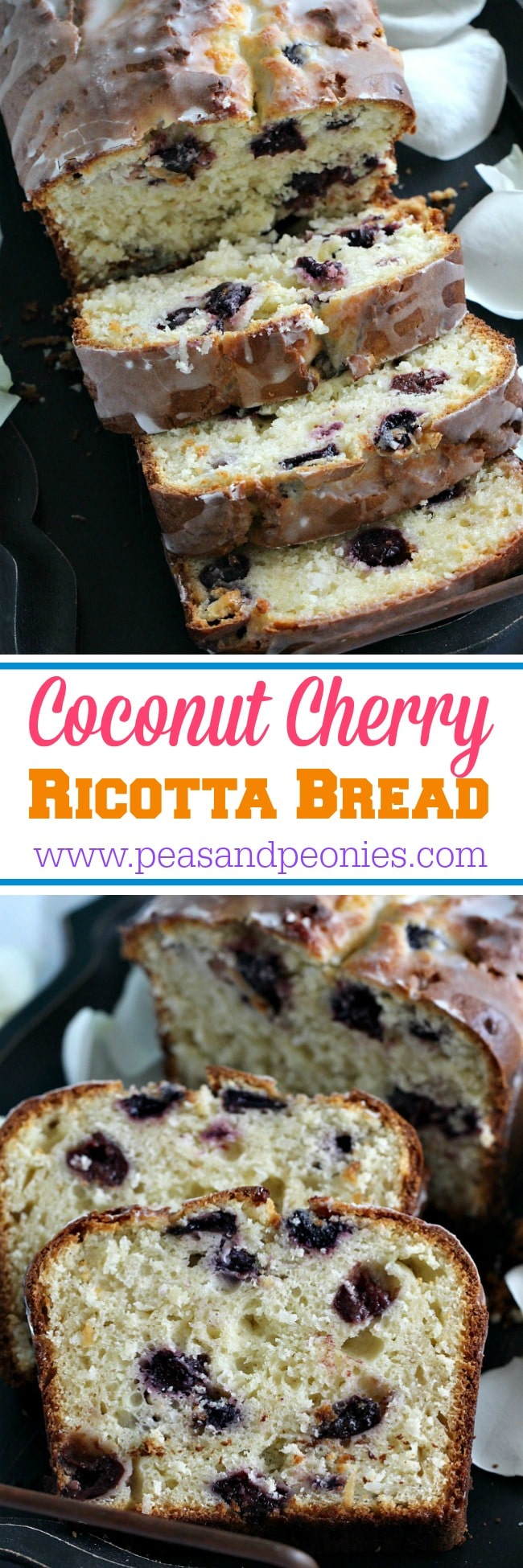 Coconut cherry ricotta bread that is moist and tender, very easy to make, loaded with sweet cherries and topped with a lemon glaze.