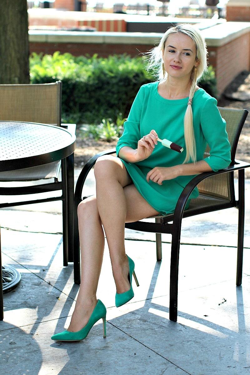 Crepe Mint Dress 8003