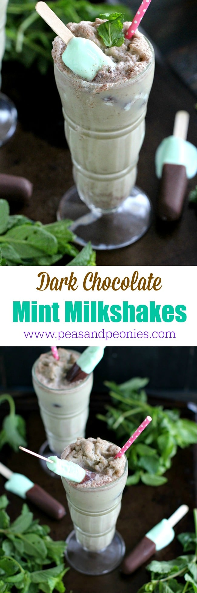 Dark Chocolate Mint Milkshakes made with almond milk, fresh mint and topped with ice cream bars are delicious and refreshing.