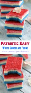 Patriotic Easy Fudge made with only two ingredients, the fudge is no bake and gluten free, all you need is a microwave and some food coloring for a festive twist.