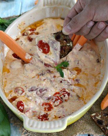 Roasted Red Pepper Tomato Feta Dip