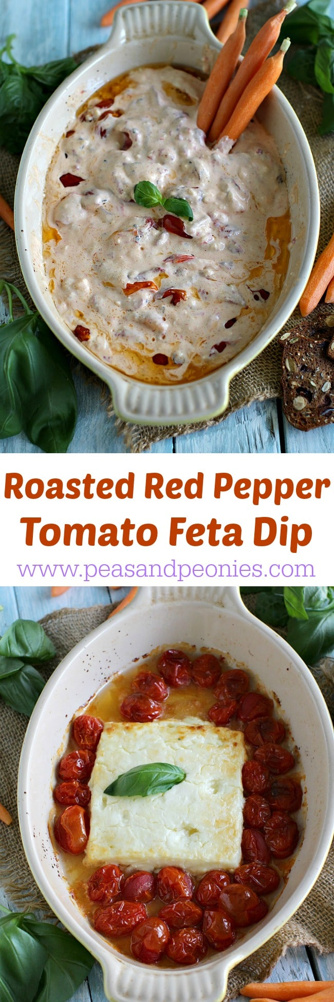 Five Ingredients only! Easy to make, addicting and creamy feta dip is loaded with sweet and tender roasted red bell peppers and juicy roasted mini tomatoes.
