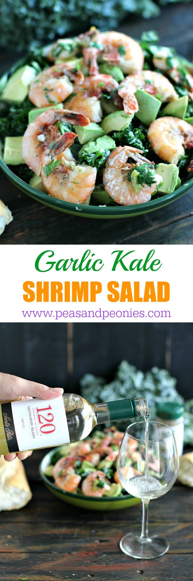 Garlic kale salad topped with garlicky shrimp cooked in sauvignon blanc and served with buttery avocado is the perfect summer meal.