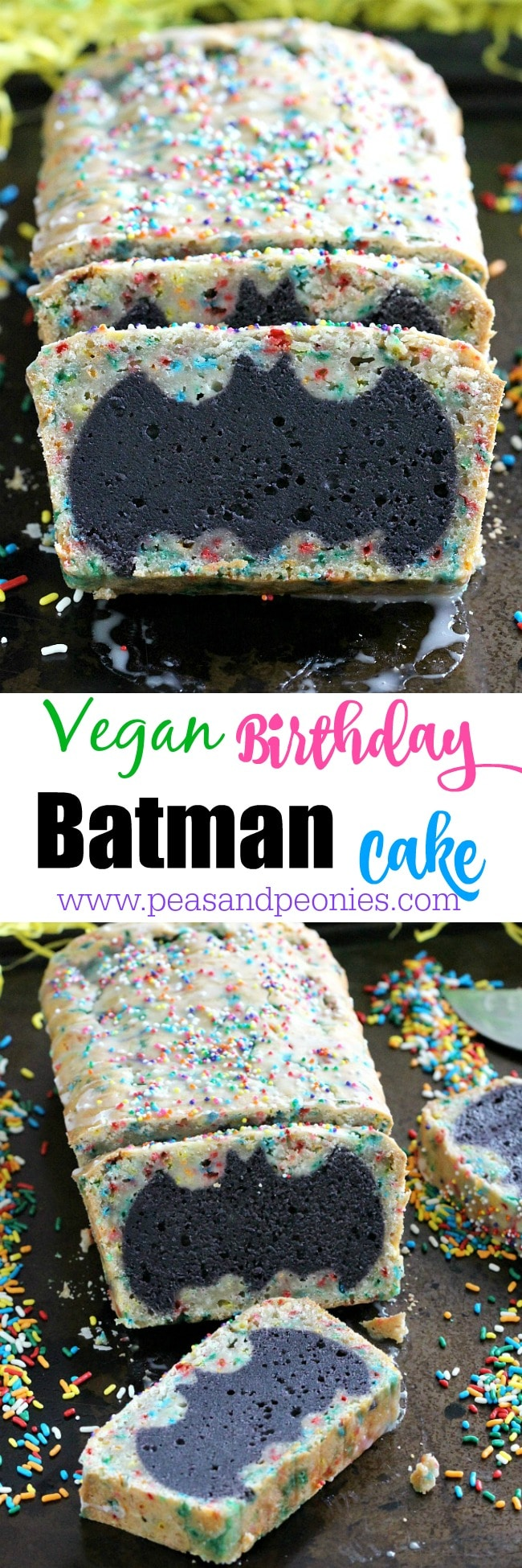 Easy to make Vegan Batman Cake is fun for the kids and adults. Easy ingredients for a fun, delicious cake for your next celebration.