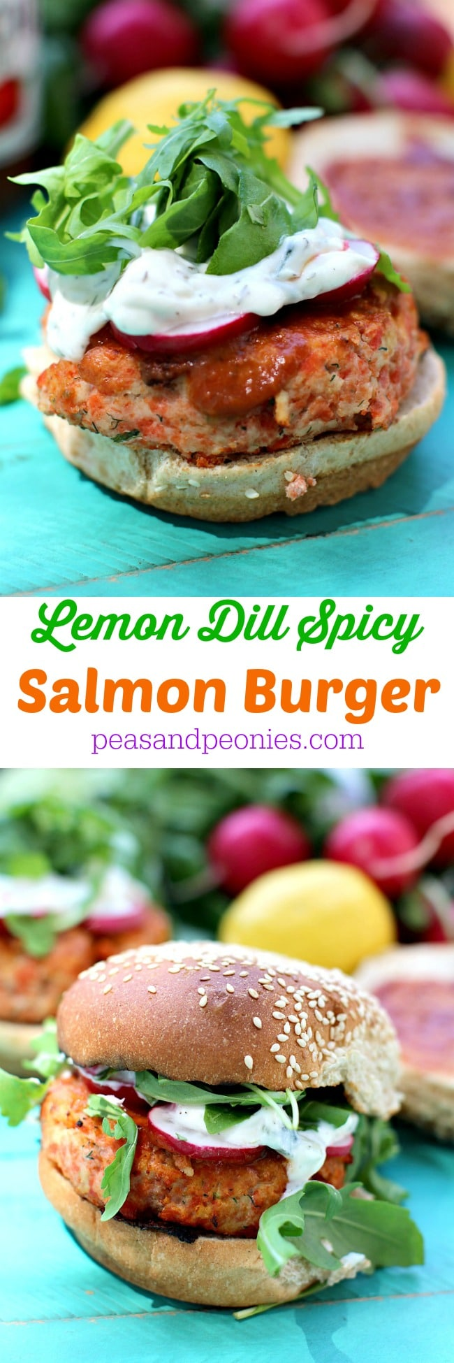 Delicious and irresistible Spicy Salmon Burger made with fresh lemon zest and dill, also Antipasto Bar Hot Dogs for the perfect summer BBQ get together.