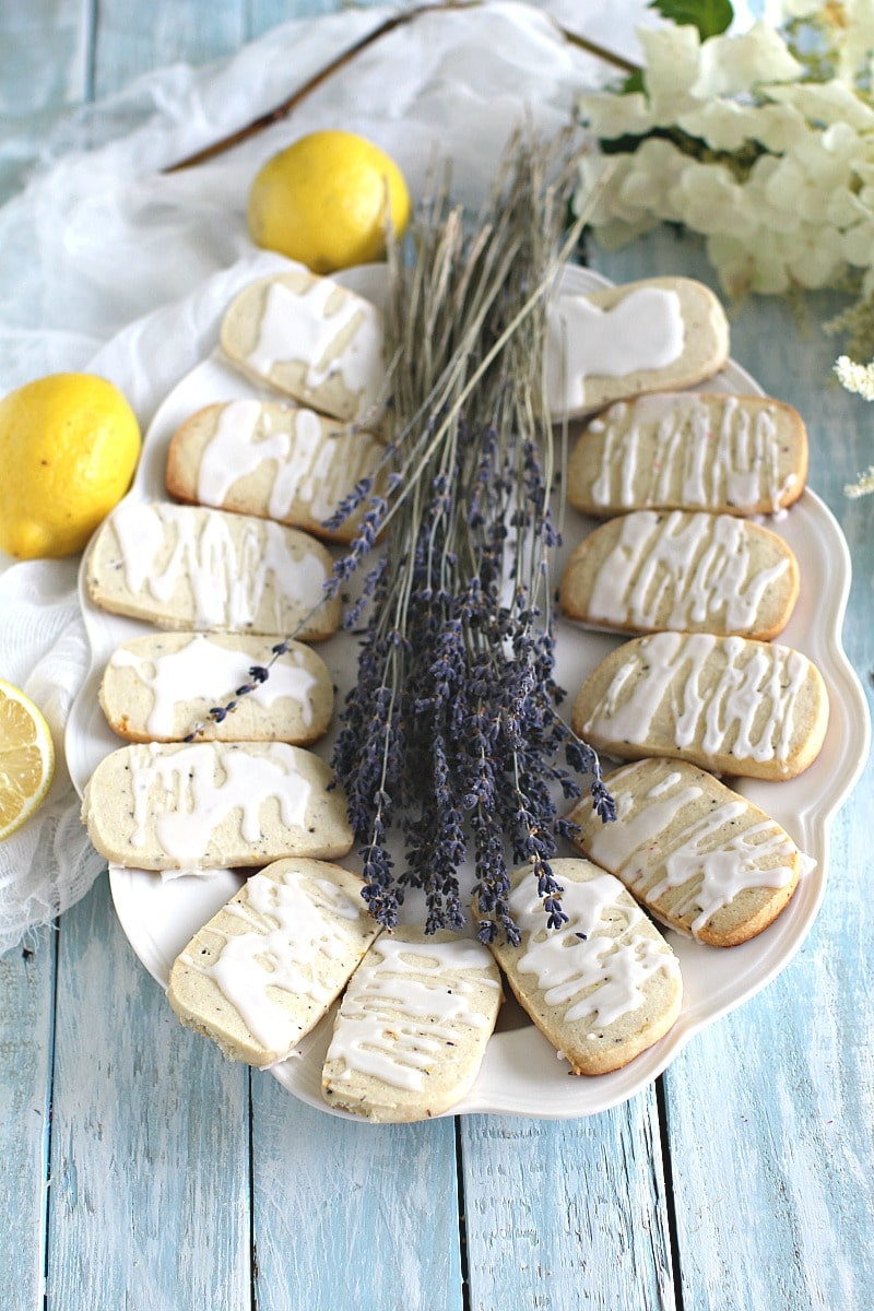 Shortbread Lemon Lavender Cookies melt in your mouth and are full of flavor. Topped with lemon icing for a beautiful and fresh finish.