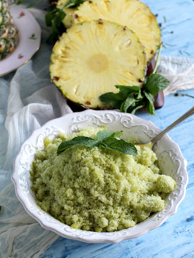 Vegan and Gluten Free, Mint Pineapple Granita is delicious and refreshing, made with fresh mint and sparkling tea for an easy summer snack.