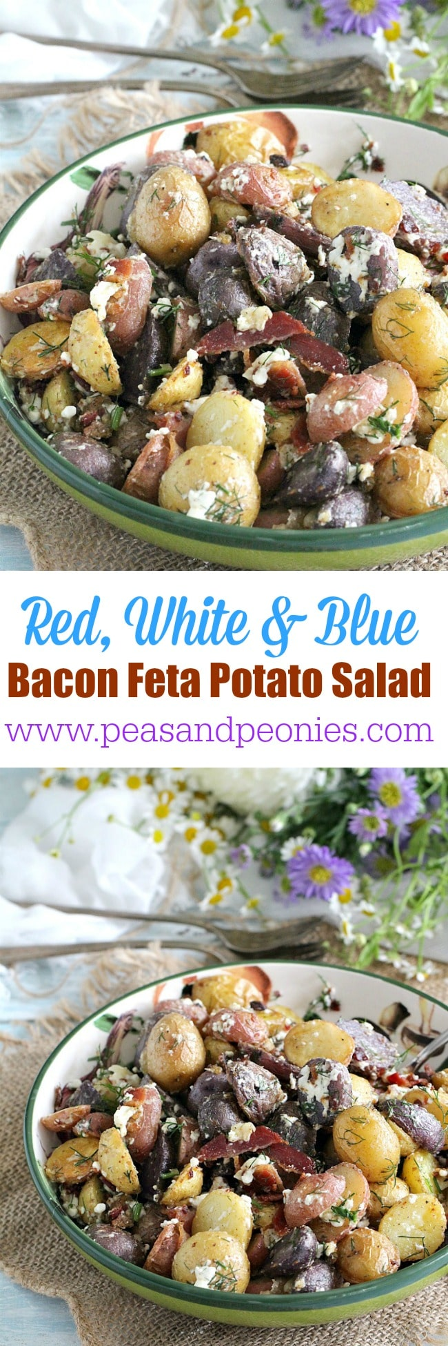 Mayo free and gluten free this Red, White and Blue Bacon Feta Potato Salad is tender, loaded with garlic flavor and beautiful different textures and colors.