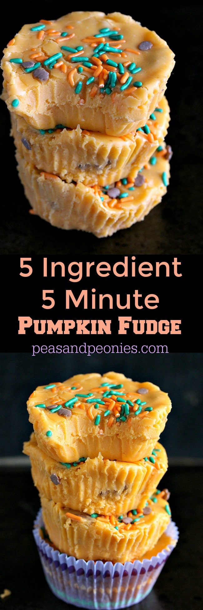 Pumpkin Fudge made in 5 minutes with only 5 ingredients! Creamy, delicious, no bake and also gluten free.