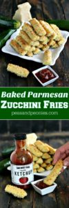 Baked Parmesan Zucchini Fries are crispy on the outside with a tender, delicious zucchini middle. Packing lots of flavor these make a healthier snack.