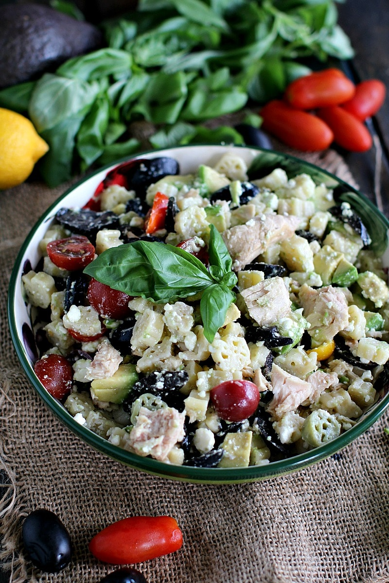 Greek Tuna Pasta Salad is a nutritious, delicious and easy to make dinner. Loaded with veggies, healthy fats and protein for a hearty meal.