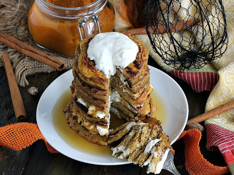 Fluffy and flavorful Pumpkin Cheesecake Pancakes combine breakfast and dessert in this amazing creation, loaded with creamy cheesecake bites.