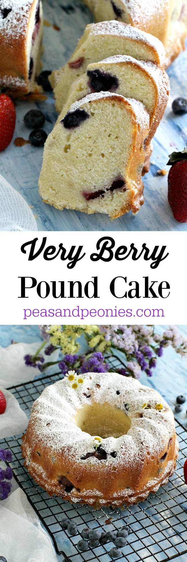 A rich and buttery Very Berry Pound Cake made with vanilla bean seeds, is loaded with fresh and seasonal strawberries and blueberries.
