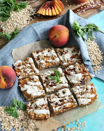 Gluten Free Peach Cobbler Bars - Vegan