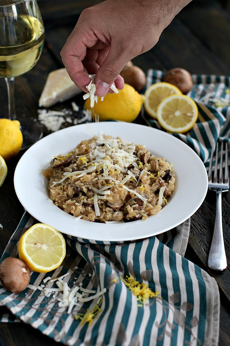 Brown Rice Risotto Made With White Wine, Fresh Lemon Zest, Mushrooms And  Freshly Grated