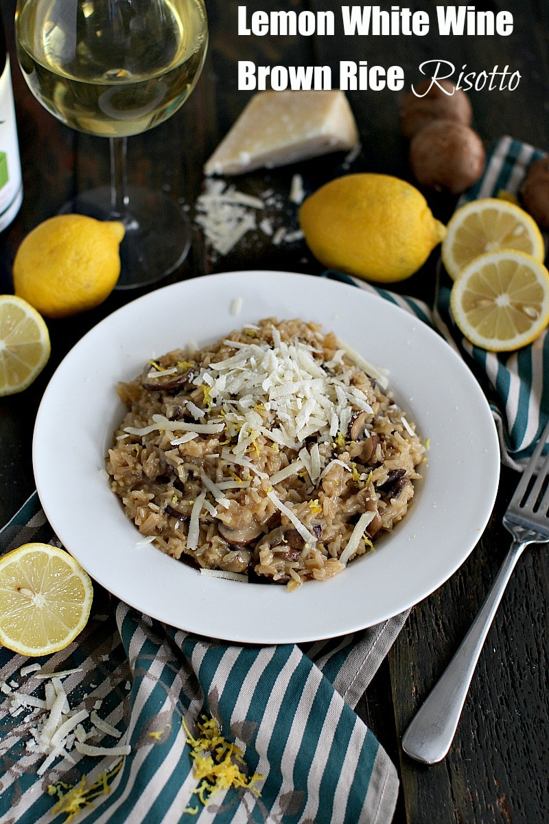 Lemon white wine brown rice risotto sweet and savory meals brown rice risotto made with white wine fresh lemon zest mushrooms and freshly grated forumfinder Images