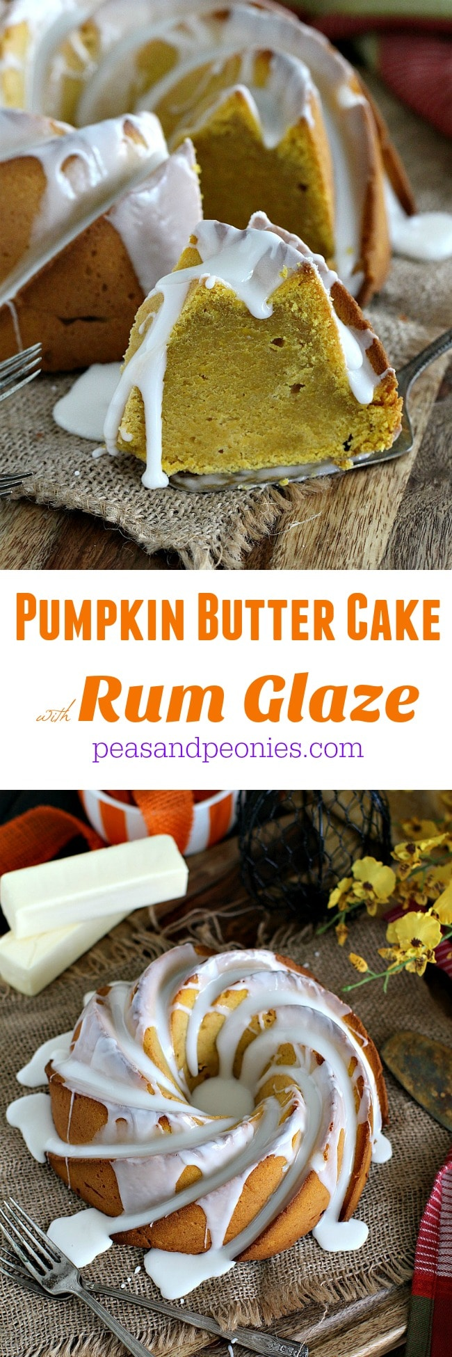 Easy to make, luxurious, rich and moist, one bowl Pumpkin Butter Cake is absolutely divine covered in a boozy and sweet rum glaze.
