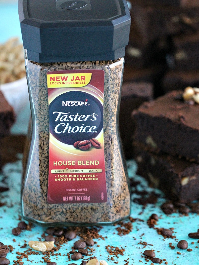 Coffee Brownies are made with instant coffee for a deep and shining java flavor, loaded with chewy walnuts these are the perfect dessert.