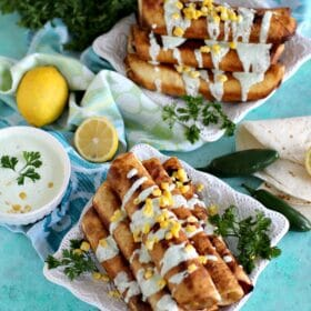 Cheesy BBQ Chicken Taquitos with Sweet Corn