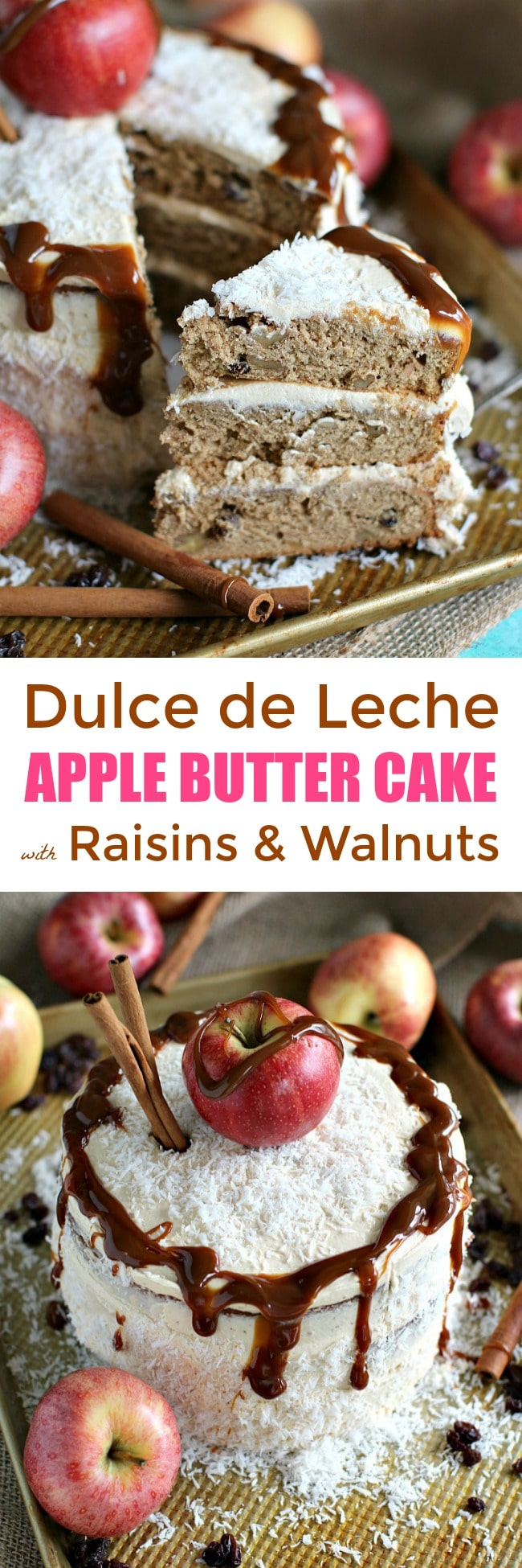 Apple Butter Cake with Dulce de Leche Buttercream loaded with walnuts and raisins, it is such a stunning, decadent and luxurious dessert to make this fall.