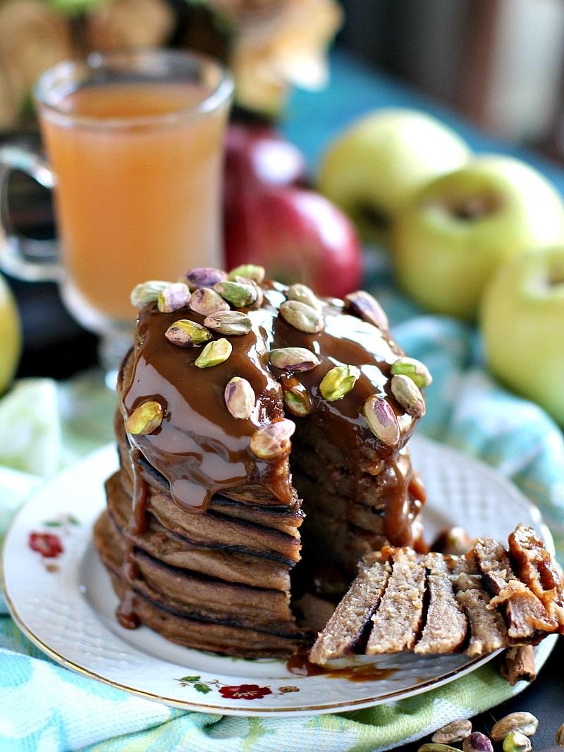 Pistachio Caramel Apple Butter Pancakes 9