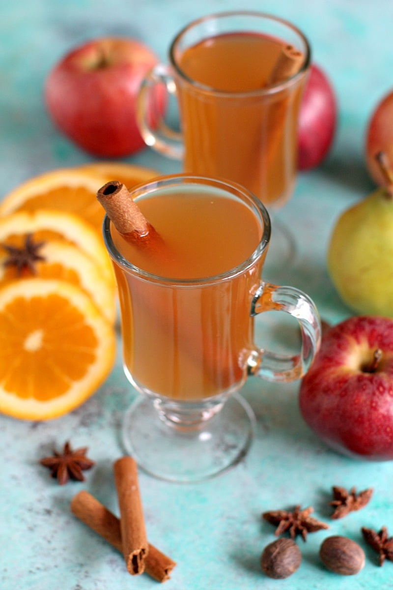 Homemade apple cider with cinnamon sticks in glass cups