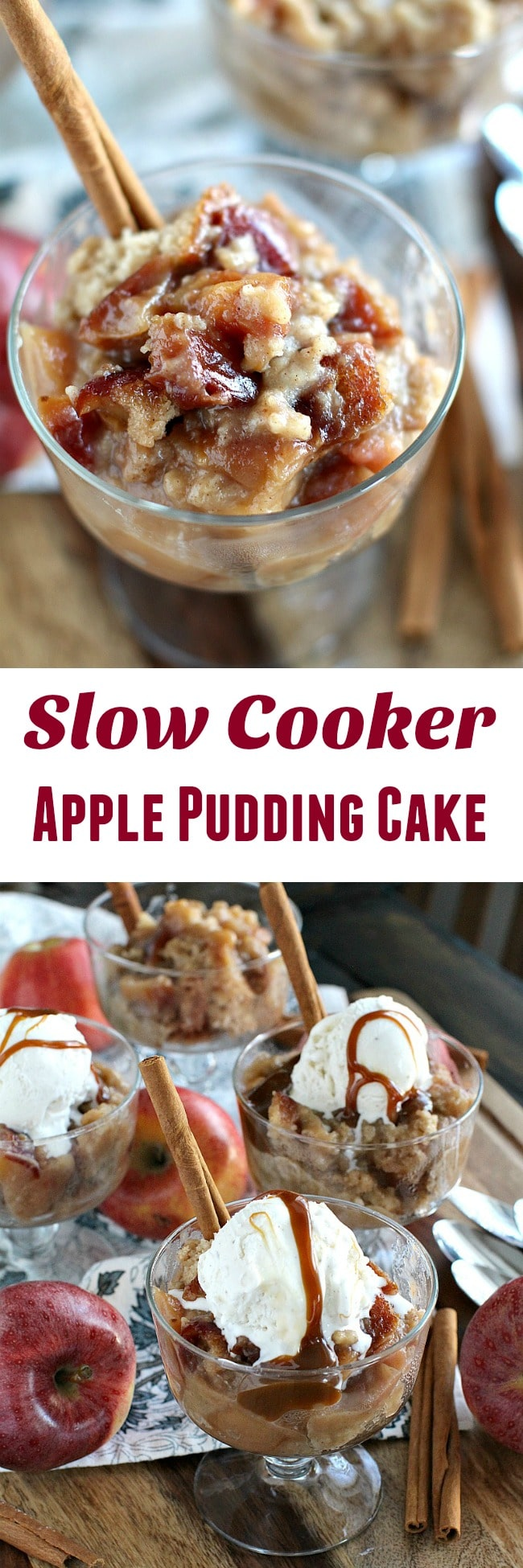 Slow Cooker Apple Pudding Cake is easy to make, loaded with caramelized apples and cinnamon and served warm with ice cream and caramel sauce. Made in the InstantPot.
