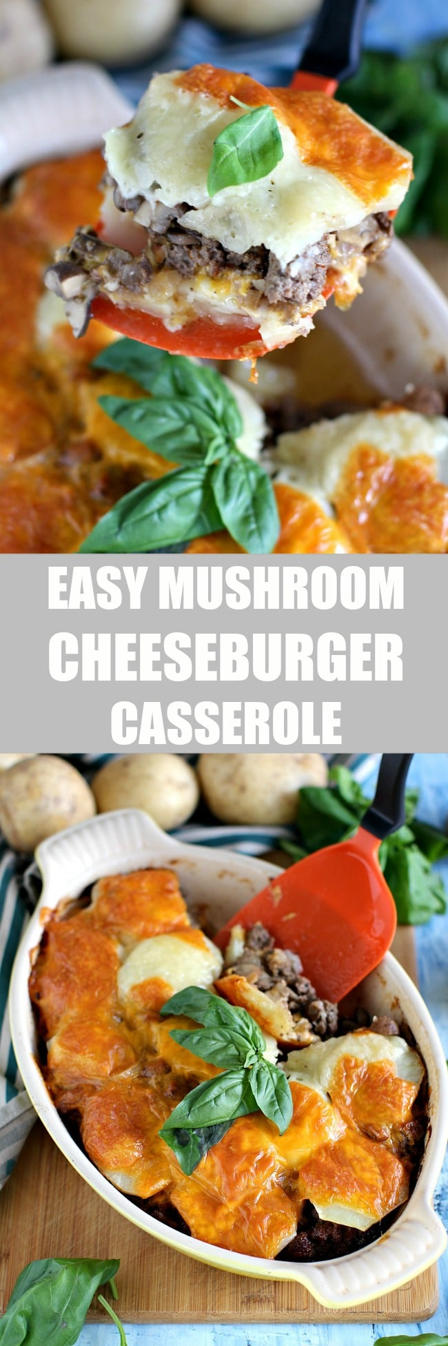 Gluten Free Mushroom Cheeseburger Casserole that is easy to make, filling and delicious, loaded with cheese and baked potato layers.