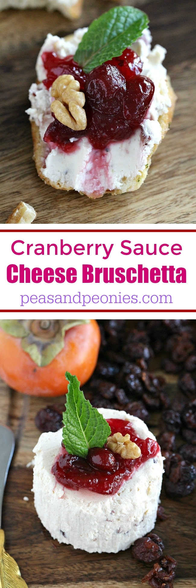 Easy home entertaining cheese platter ideas featuring seasonal produce and easy to make Cranberry Sauce Cheese Bruschetta.