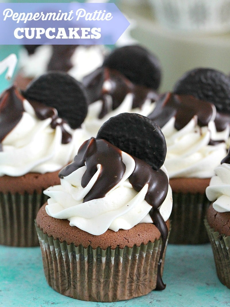 Peppermint Pattie Cupcakes are made with rich chocolate cupcakes, topped with peppermint buttercream, chocolate ganache and peppermint patties!