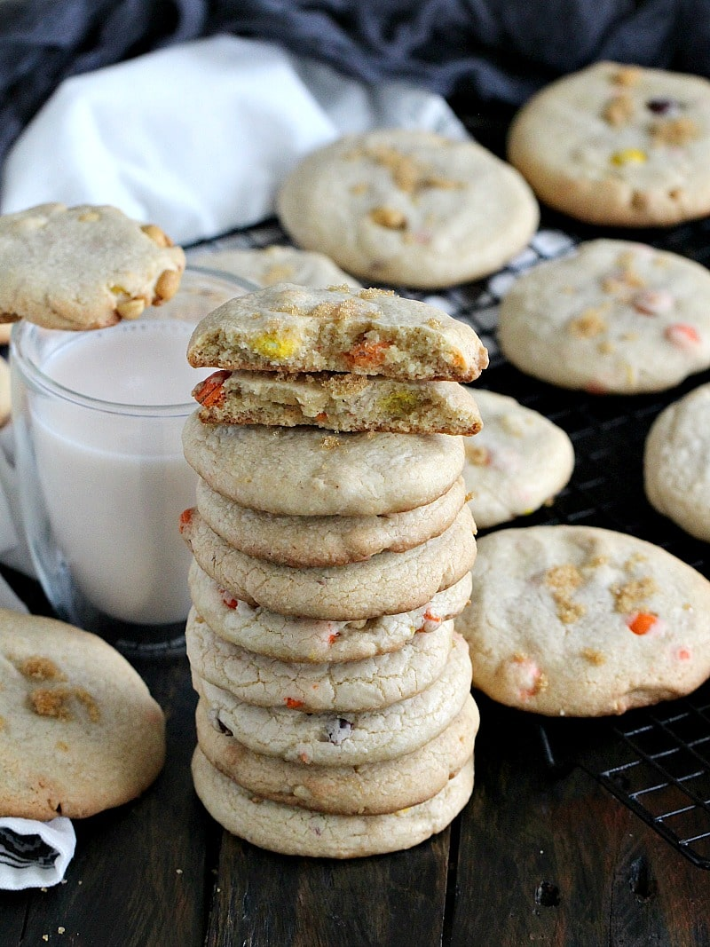 Brown Butter Cookies that are chewy, soft and dense on the inside, loaded with Reese's pieces and salted peanuts for the ultimate great taste.