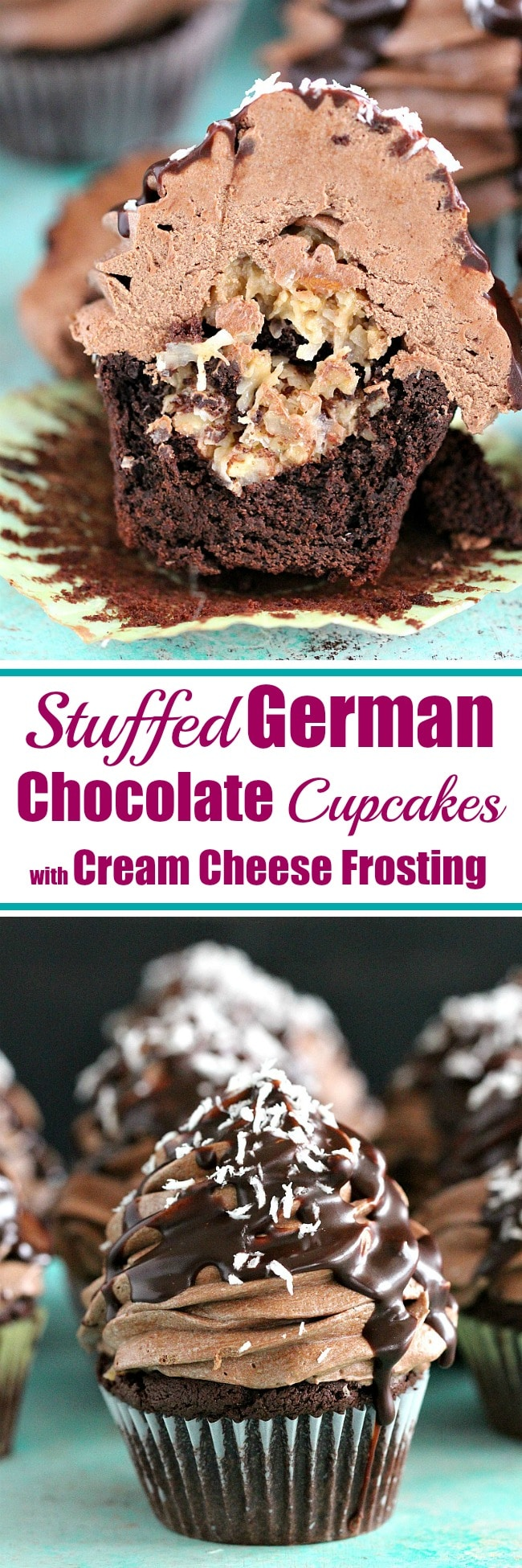 Best German Chocolate Cupcakes recipe, soft and chocolaty cupcakes are stuffed with a coconut-pecan filling and topped with chocolate cream cheese frosting.