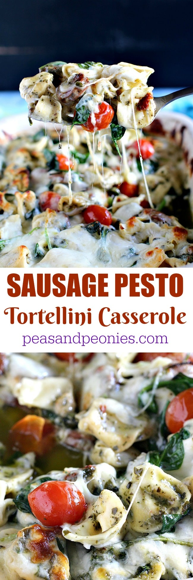 6 Ingredients only, Sausage Pesto Tortellini Casserole made with fresh ingredients is perfect for delicious and quick weeknight dinners.