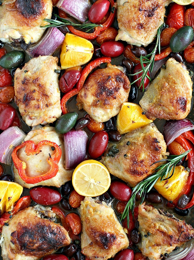 One Sheet Pan Mediterranean Chicken - Sweet and Savory Meals