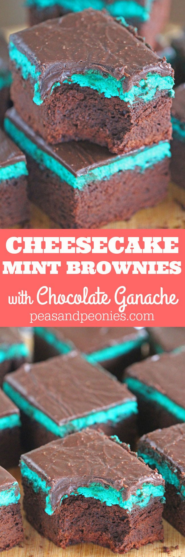 Rich and chocolaty Mint Brownies are topped with a creamy Mint Cheesecake layer and finished with a sweet layer of Chocolate Ganache.