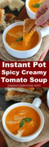 Instant Pot Tomato Soup made with garlic roasted tomatoes for extra flavor. Super creamy and with a spicy kick, made in minutes in the Instant Pot