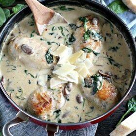 Creamy Parmesan Mushroom Chicken - One Pan