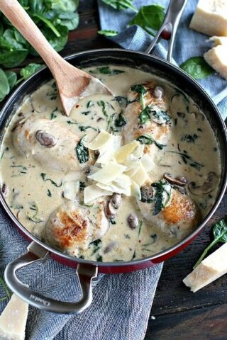 Creamy Parmesan Mushroom Chicken is made easy in One Pan and is ready in 30 minutes. Made with cheese, wine and garlic, it packs lots of flavor.