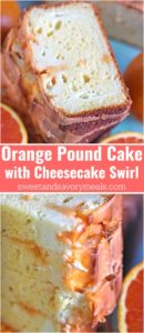 Orange Pound Cake with Orange Glaze is rich and flavorful, with a beautiful orange scent and a creamy orange flavored cheesecake swirl.