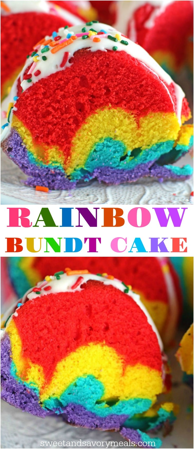Rainbow Bundt Cake is very easy and fun to make, the gorgeous colors make the cake festive and perfect for a special occasion.
