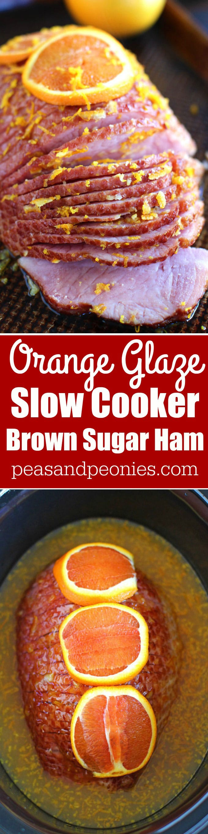 Slow Cooker Brown Sugar Ham with Orange Glaze is an amazingly flavorful and refreshing way to easily cook ham to juicy perfection in your slow cooker.