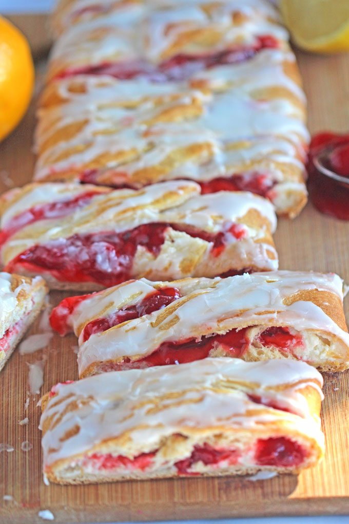 Image of homemade danish made with cream cheese and cherry.