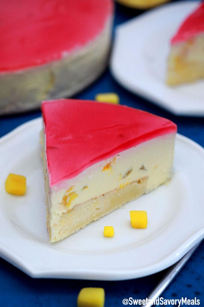 Photo of mango mousse cake slice.