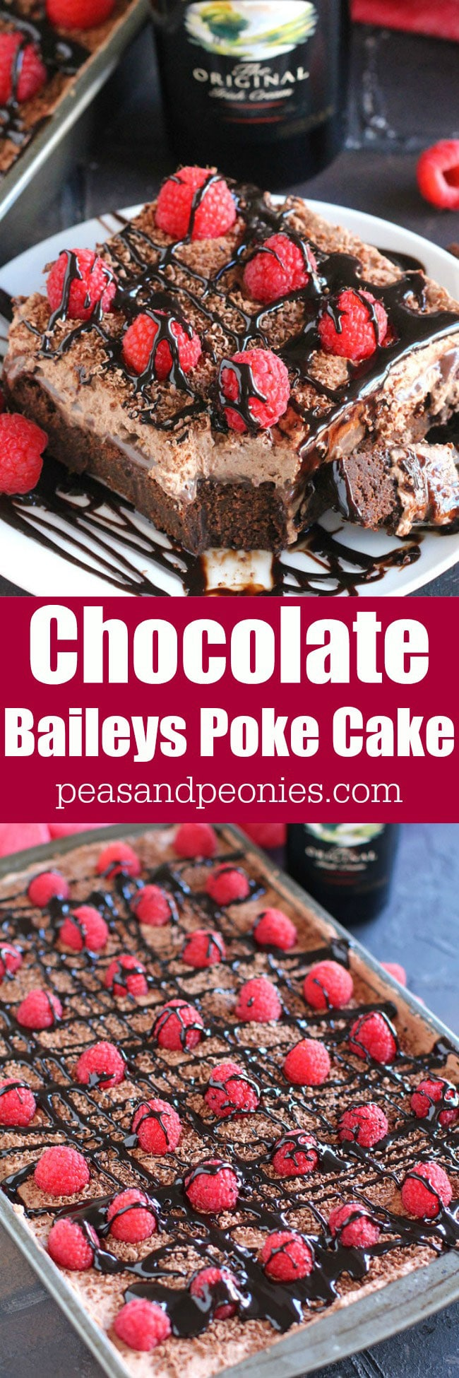 This delicious Chocolate Baileys Poke Cake has Baileys in the batter and in the chocolate sauce, topped with Baileys Chocolate Whipped Cream!