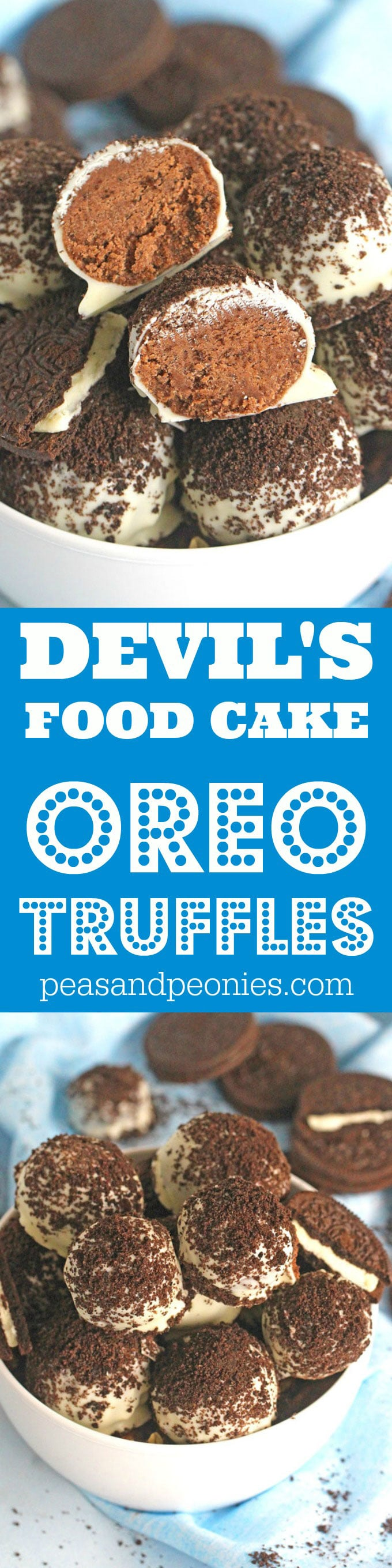Oreo Devil's Food Cake Truffles are easy to make and no bake, loaded with chocolate cake mix, Oreos, dipped in white chocolate and topped with Oreo crumbs.