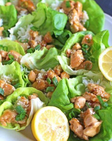 Honey Lemon Chicken Lettuce Wraps