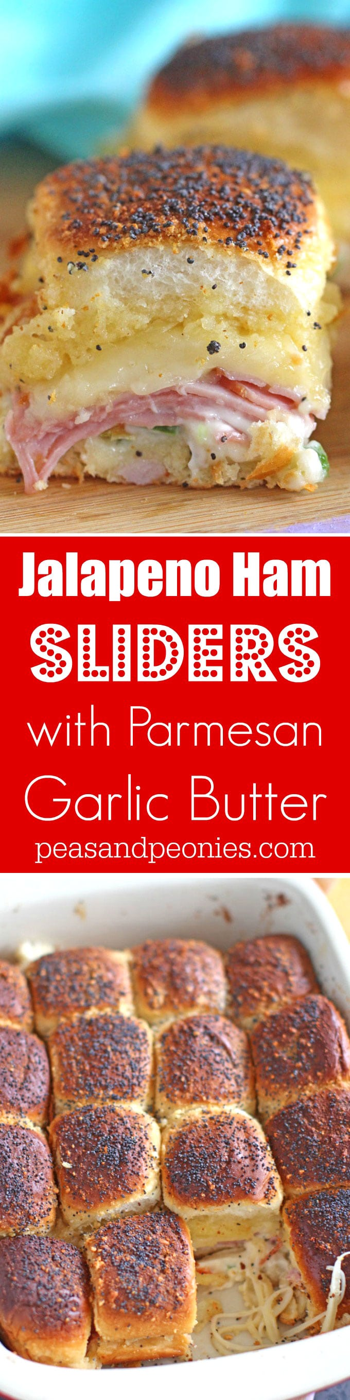 Spicy Ham Sliders are stuffed with fresh jalapeños, lots of cheese and brushed with parmesan garlic butter for the perfect golden finish.