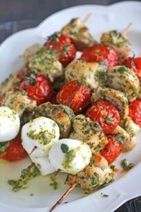 5 Ingredients only, Pesto Chicken Kebabs can be easily made in 30 minutes in your oven or grill for a delicious and healthy dinner.
